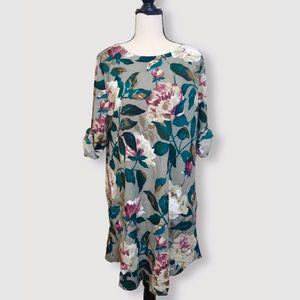 Grey/Green Floral Long Sleeve Pocket Dress Sz M